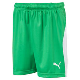 LIGA Kids' Football Shorts, Bright Green-Puma White, small