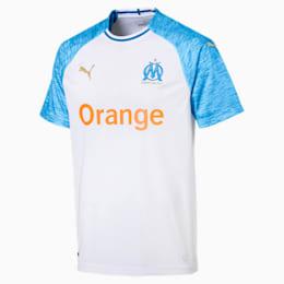 Réplica de la camiseta de local delOlympique de Marseillepara hombre, Puma White-Bleu Azur, pequeño
