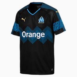 Olympique de Marseille Men's Away Replica Jersey, Puma Black-Bleu Azur, small