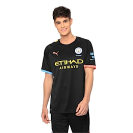Man City Short Sleeve Men's Away Replica Jersey, Puma Black-Georgia Peach, small-IND