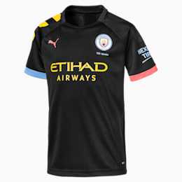 Man City Short Sleeve Kids' Away Replica Jersey, Puma Black-Georgia Peach, small
