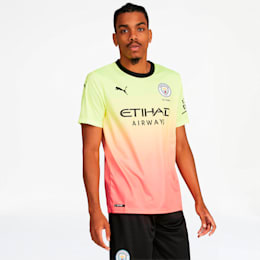 Manchester City FC Men's Third Replica Jersey, Fizzy Yellow-Georgia Peach, small