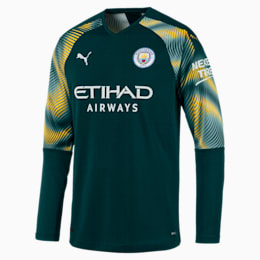 Man City Men's Replica Goalkeeper Jersey, Ponderosa Pine-Cyber Yellow, small