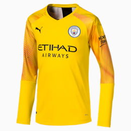 Man City Long Sleeve Kids' Replica Goalkeeper Jersey, Cyber Yellow-Puma Black, small