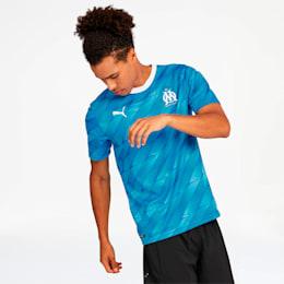 Réplica de la camiseta de visitante delOlympique de Marseillepara hombre, Bleu Azur-Puma White, pequeño