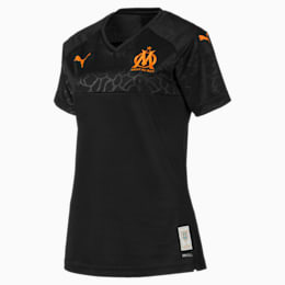 Maillot de rechange Olympique de Marseille Replica pour femme, Puma Black-Orange Popsicle, small