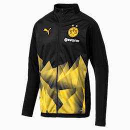 BVB Men's International Stadium Jacket, Puma Black-Cyber Yellow, small