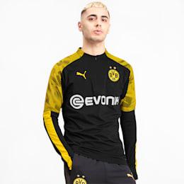 BVB Men's 1/4 Zip Training Top, Puma Black-Cyber Yellow, small