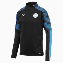 Manchester City FC Herren Fleece Trainings-Sweatshirt, Puma Black-Team Light Blue, small