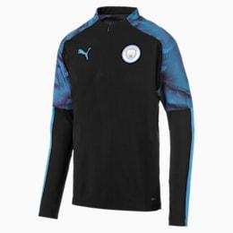 Manchester City FC Quarter Zip Men's Top, Puma Black-Team Light Blue, small