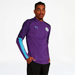 Manchester City FC Men's 1/4 Zip Top, TillandsiaPurple-TeamLightBl, small