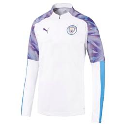 Manchester City FC Quarter Zip Men's Top, Puma White-Team Light Blue, small