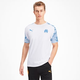 Olympique de Marseille Men's Training Jersey, Puma White-Bleu Azur, small