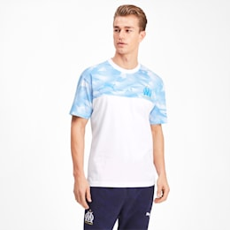 Olympique de Marseille Casuals Men's Tee, Puma White-Bleu Azur, small