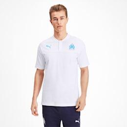 Olympique de Marseille Casuals Herren Polo, Puma White-Bleu Azur, small
