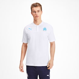 Olympique de Marseille Casuals Men's Polo Shirt, Puma White-Bleu Azur, small