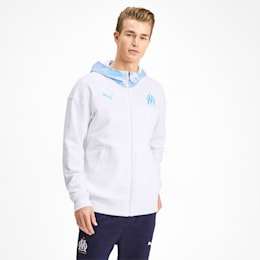 Olympique de Marseille Casuals Men's Zipped Hoodie, Puma White-Bleu Azur, small