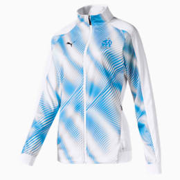 Olympique de Marseille Stadium Women's Replica Jacket, Puma White-Bleu Azur, small