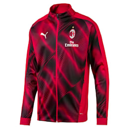 AC Milan Stadium Men's Jacket, Tango Red -Puma Black, small