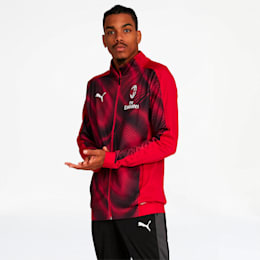 AC Milan Men's Stadium Jacket, Tango Red -Puma Black, small