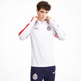 Chivas Men's Quarter Zip Top, Puma White-Puma Red, small
