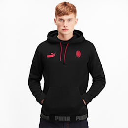 AC Milan Men's Hoodie, Puma Black-Tango Red, small