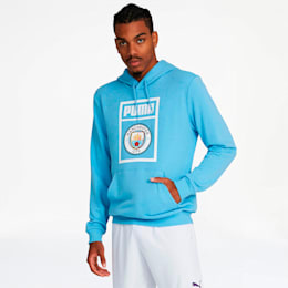 Manchester City FC Men's Shoe Tag Hoodie, Team Light Blue-Puma White, small