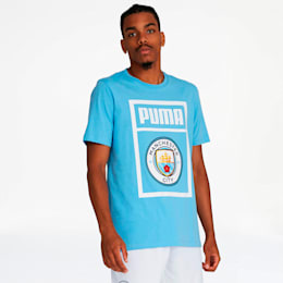 Manchester City FC Men's Shoe Tag Tee, Team Light Blue-Puma white, small