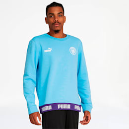 Manchester City FC FtblCulture Men's Sweatshirt, Team Light Blue-Puma White, small