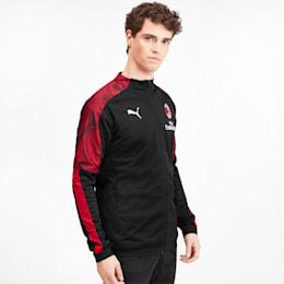 AC Milan Men's Poly Jacket, Puma Black-Tango Red, small