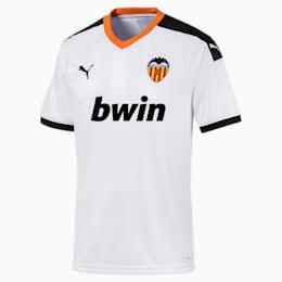 Camiseta de la primera equipación de réplica de hombre Valencia CF, White- Black-Vibrant Orange, small