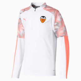 Valencia CF Quarter Zip Kids' Training Top, Puma White-Fizzy Orange, small