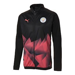 Man City Men's International Stadium Jacket, Puma Black-Georgia Peach, small