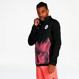 Manchester City FC Men's International Stadium Jacket, Puma Black-Georgia Peach, small