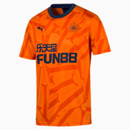 Newcastle United FC Men's Third Replica Short Sleeve Jersey, Vibrant Orange-Peacoat, small