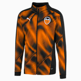 Valencia CF Men's Stadium Jacket, Puma Black-Vibrant Orange, small