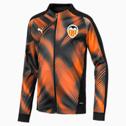 Valencia CF Kids' Stadium Jacket, Puma Black-Vibrant Orange, small