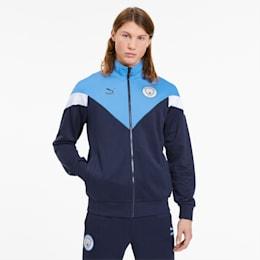 Man City iconisch MCS trainingsjack voor heren, Peacoat-Team Light Blue, small