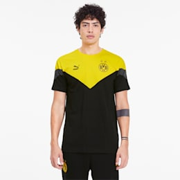 BVB Iconic MCS Men's Tee, Puma Black-Cyber Yellow, small