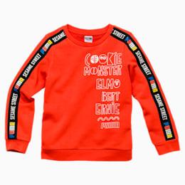 Sesame Street-T-shirt med rund halsudskæring til drenge, Cherry Tomato, small