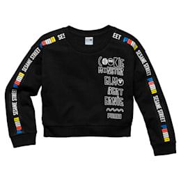 Sesame Girls' Crew Sweatshirt, Cotton Black, small