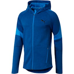 Evostripe Full Zip Men's Hoodie, Strong Blue Heather, small