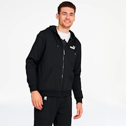 Essentials Men's Hooded Fleece Jacket, Puma Black, small