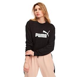 Essentials Crew Women's Sweatshirt, Cotton Black, small-SEA