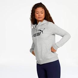 Women's Essential Fleece Hooded Jacket, Light Gray Heather, small
