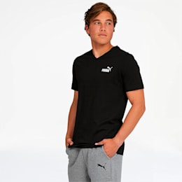 Essentials+ Men's V Neck Tee, Cotton Black, small