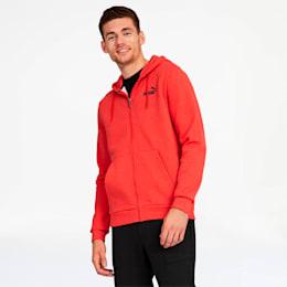 Essentials+ Men's Fleece Hooded Jacket, High Risk Red Heather, small