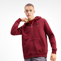 Essentials+ Men's Fleece Hooded Jacket, Rhubarb Heather, small