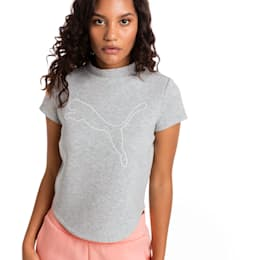 Evostripe Move Women's Sweat Tee, Light Gray Heather, small
