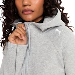 Evostripe Move Zip-Up Women's Hoodie, Light Gray Heather, small